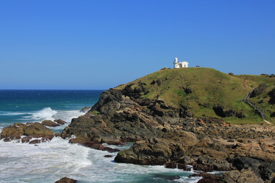 lighthouse on top of a hill in port macquarie