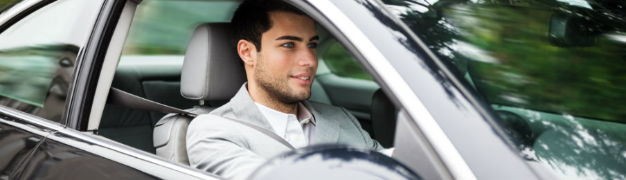 man driving a car hire in england