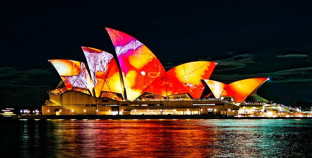 Colorful roof lightings of Sydney Opera House