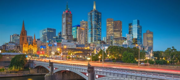 melbourne during twilight blue hour