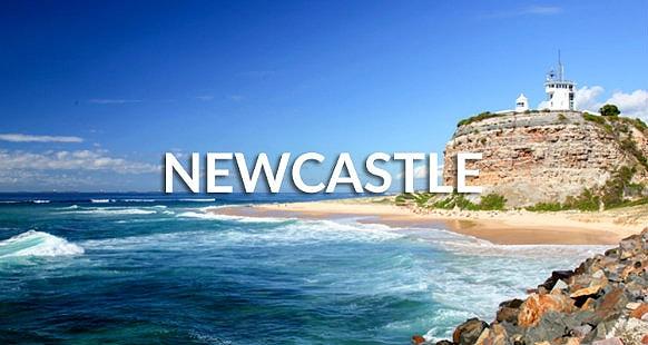 Nobbys lighthouse, famous landmark in Newcastle, Australia