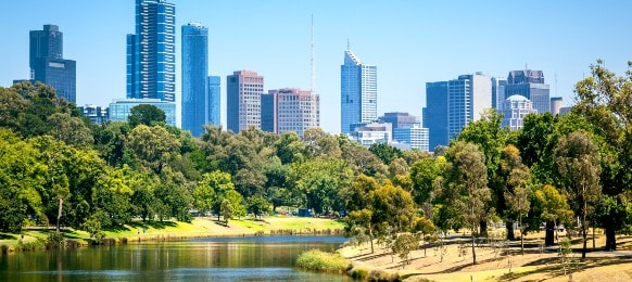 panoramic landscape of melbourne in Australia