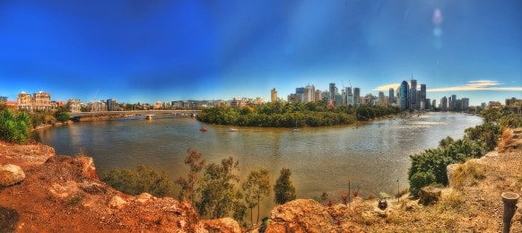 panoramic view of brisbane city in the morning