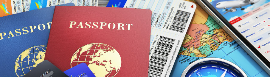 passport with travel necessities before any international trip