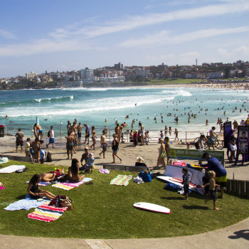 people relaxing in Bondi Beach