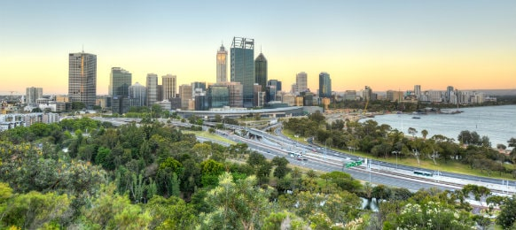 perth australia view at dusk