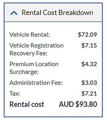 rental cost breakdown sample