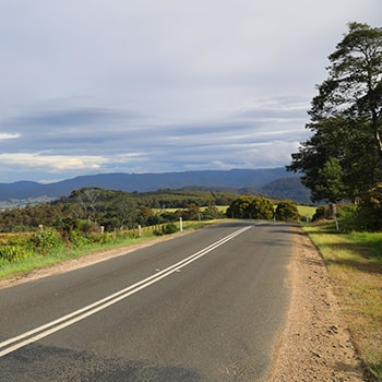 Road going to Bruny Island in Tasmania