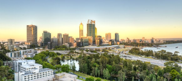 skyline of perth from kings park
