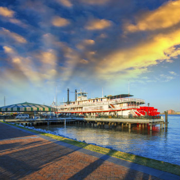 Steamboat in Mississippi river, New Orleans