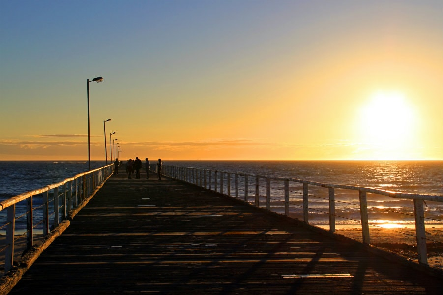 sunset from semaphore jetty in adelaide