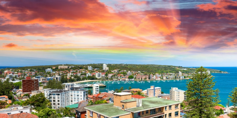 sunset over manly coastline in sydney