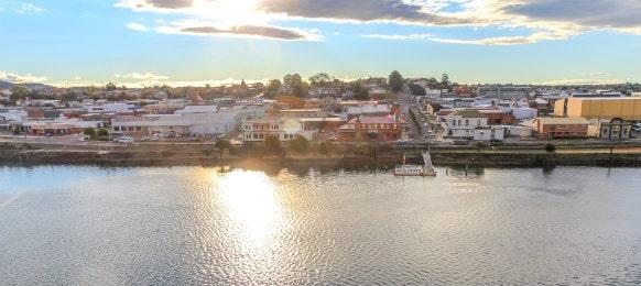sunset in tasmanian town devonport