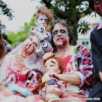 participants dressed up as zombies