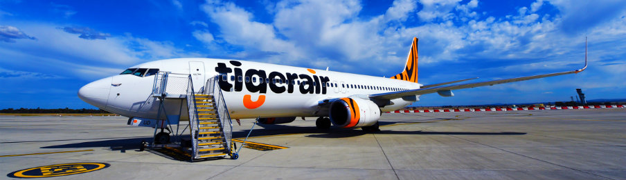 Tigerair Australia aircraft parked at the Airport Terminal