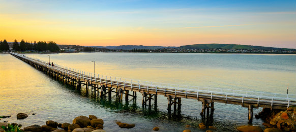 Victor Harbor foot bridge at sunset