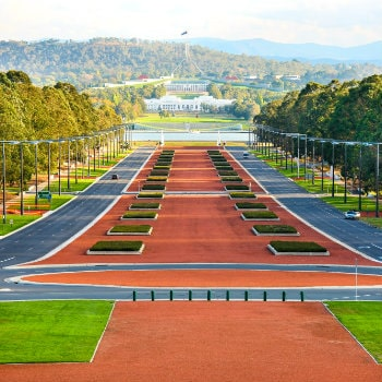 view from australian war memorial museum to parliament house