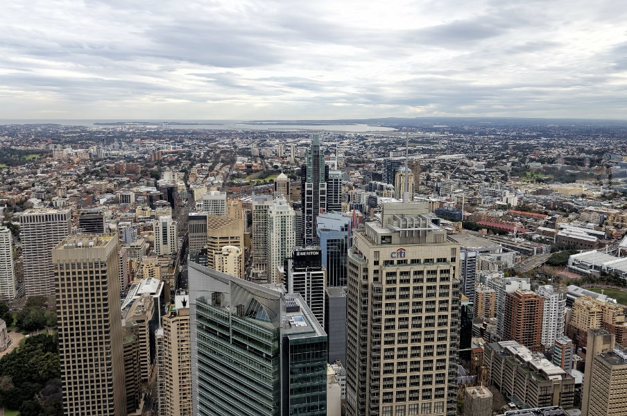 view of sydney from the sydney tower eye